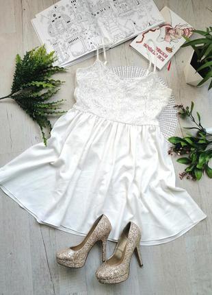 Шикарное вечернее выпускное платье  белое кружево короткое