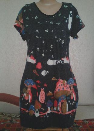 Платье в грибочки на 10-13 лет