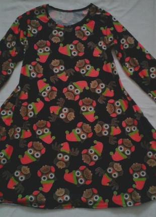 Платье в сову на 10-13 лет