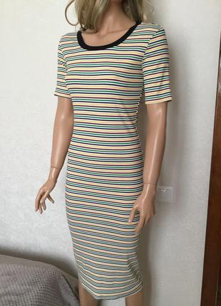 Платье миди в рубчик в полоску ivivi размер m