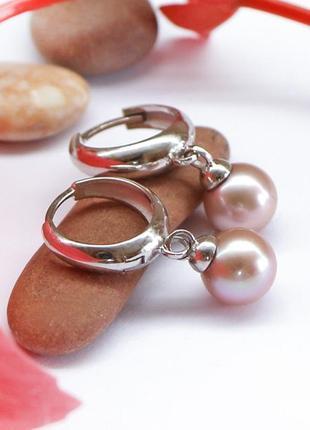 """Серьги-кольца  серебряные с натуральным жемчугом """"жемчужные"""" а..."""