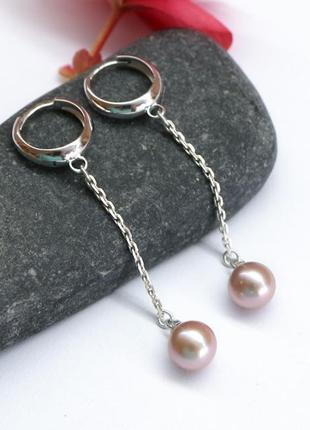 """Серебряные серьги-кольца с цепочками натуральный жемчуг """"жемчу..."""