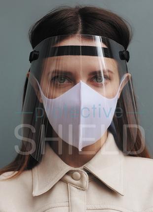 Щиток защитный для лица, защитный экран с тканевым фиксатором