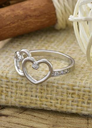 Серебряное кольцо влюблённые сердца