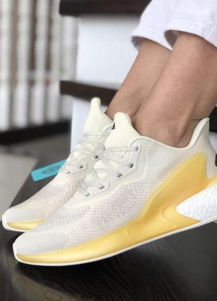 👟 кроссовки  на лето женские белые adidas alphaboost👟