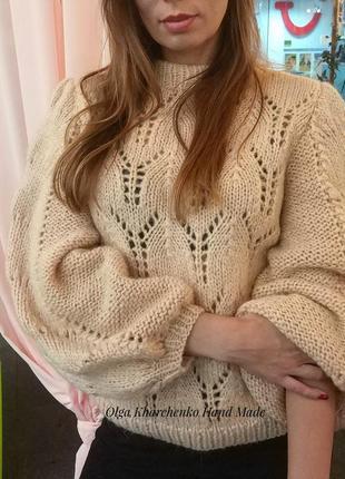 Вязаный свитер ажурный в стиле ganni свитер из мохера ручной р...