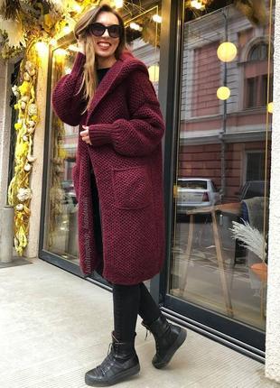 Теплый вязаный кардиган соты пальто ручной работы