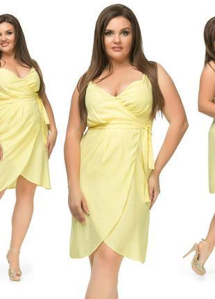 Солнечное летнее льняное платье на-запах