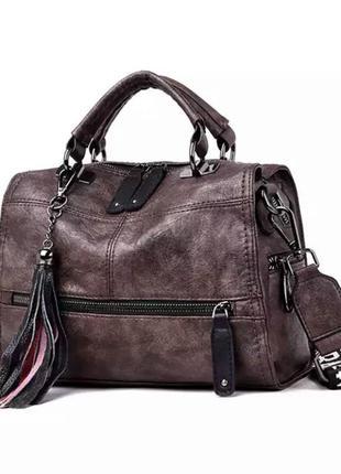 Коричневая женская сумка. аккуратная сумка с длинной/короткой ...