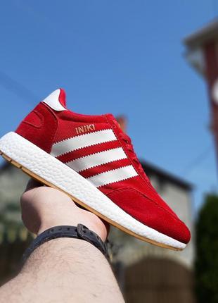 Прекрасные мужские кроссовки adidas iniki красные