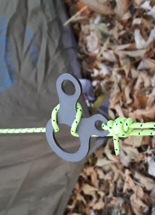 Безугловой карабин для быстрой установки гамака, тента, палатки.