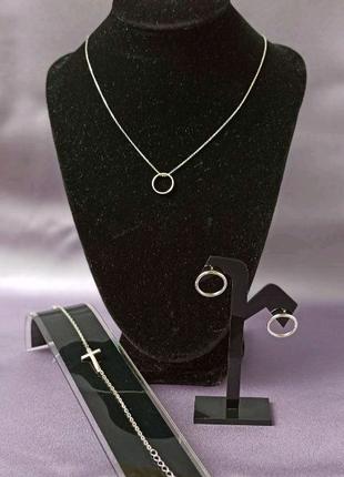 Комплект серебра 925-й пробы набор серебро колье браслет серьги
