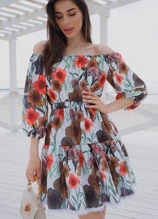 Модное платье с открытыми плечами разные расцветки