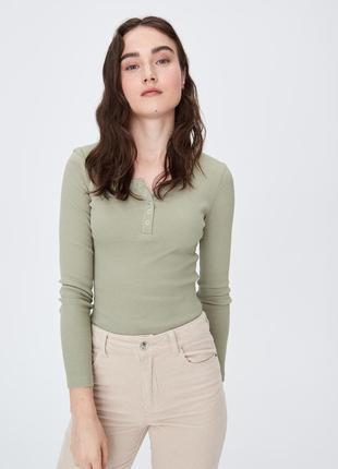 Новая болотная кофта зеленый лонгслив блузка хаки застежки кно...