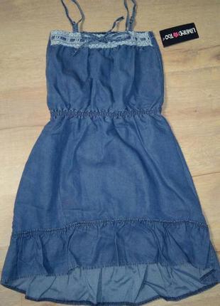 Легкий летний джинсовый удлиненный сарафан модной девочке