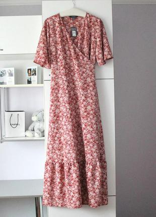 Новое шикарное платье на запах в цветы от primark