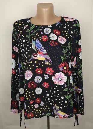 Блуза легкая красивая в принт птицы uk 12/40/m