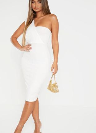🌿 элегантное миди платье футляр на одно плечо от prettylittlet...
