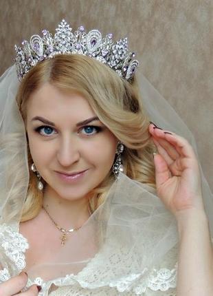 Свадебная корона сиреневое облако.
