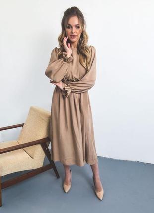 Платье миди из штапеля мокко