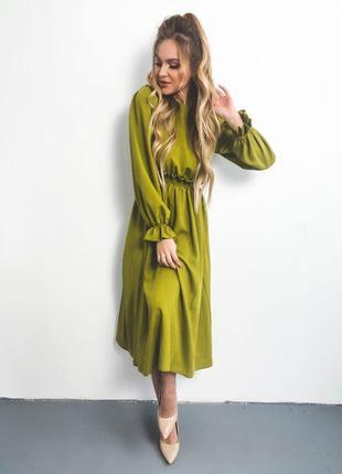Платье миди из штапеля олива