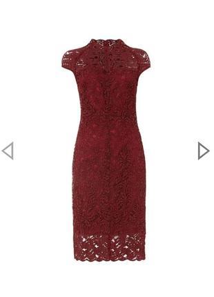 Кружевное платье цвета марсала бургунди