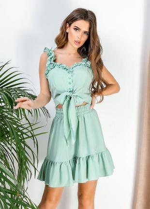Женский костюм топ+юбка