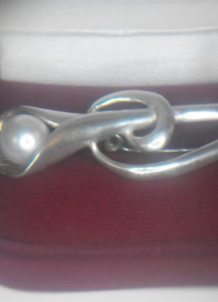серебряная брошка с натуральной жемчужиной 925 пробой Украина.