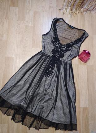 Пудровое платье с фатином