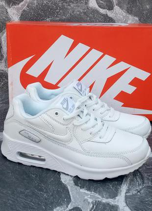 Женские кроссовки nike air max 90 белые,кожаные,летние