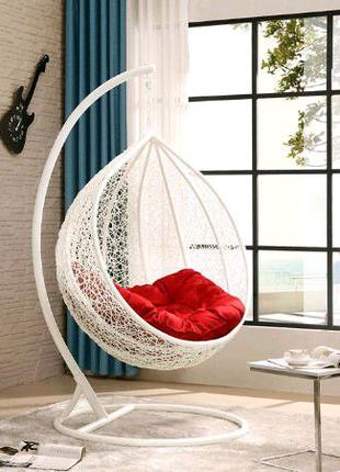 Подвесное кресло кокон плетеное в ротанге мерик потолку на стойке