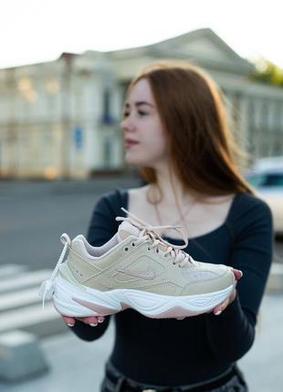 Классные женские кроссовки nike m2k tekno бежевые