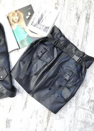 Юбка карго эко-кожа, мини юбка, кожаная юбка