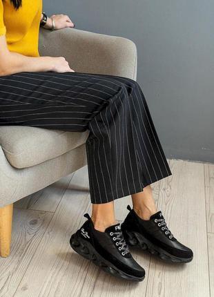 Женские кроссовки кожаные весна/осень черные benz dj25