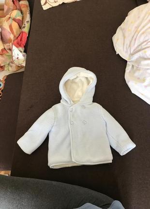 Вязаная кофта с капюшоном с мехом mothercare