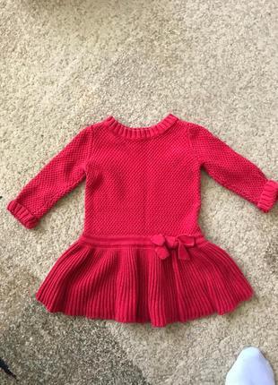 Вязаное платье красное с косами