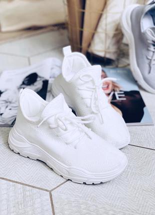 Літні білі текстильні кросівки сітка текстильные белые кроссов...