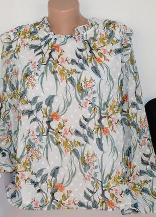 Брендовая шифоновая блуза с рюшами m&s индия принт цветы
