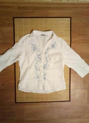 Красивая льняная рубашка /блузка вышиванка v -вырез