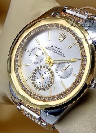Женские наручные часы rolex на металлическом браслете комбинир...