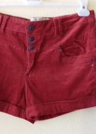 Стильные вельветовые шорты с завышенной талией морковного цвет...