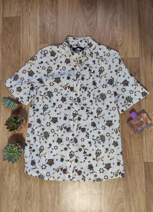 L/  рубашка с коротким рукавом цветочный принт хлопок