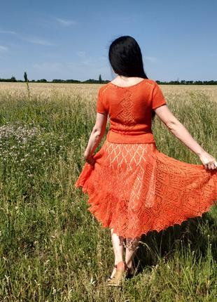 Льняная вязаная юбка