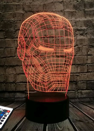 Светильник-ночник 3D Лампа — Железный человек (с пультом и аккуму
