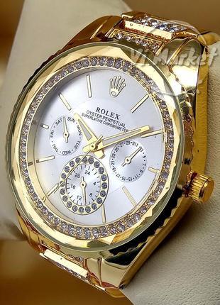 Женские кварцевые наручные часы rolex на металлическом браслет...