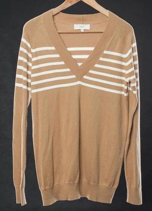 Хлопковый тоненький свитер с v-образным вырезом