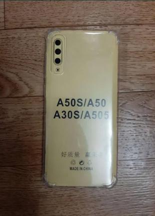 Чехол Samsung A50 А30 противоударный силиконовый прозрачный