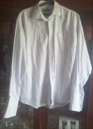 Нежно -сиреневая рубашка в рубчик на запонках