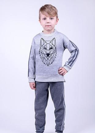 Комплект для мальчиков 2-х предметный , серый меланж с серым