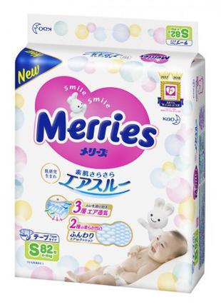 Подгузники Merries Размер S (4-8 кг), 82 шт